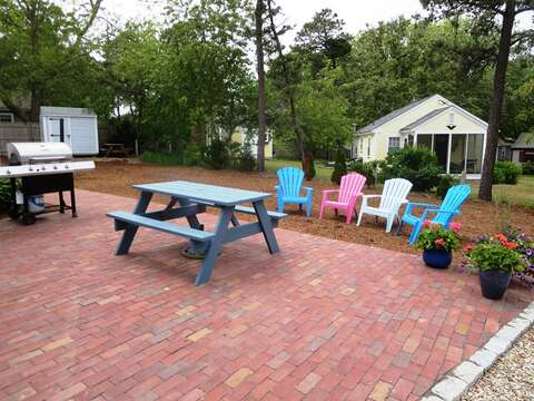Great patio to enjoy a barbeque - gas grill for your use- 13 Garden Lane Dennisport Cape Cod New England Vacation Rentals