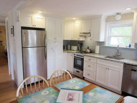Fully renovated kitchen with mini Dishwasher- Even offers a washer and dryer in one unit!- 13 Garden Lane Dennisport Cape Cod New England Vacation Rentals