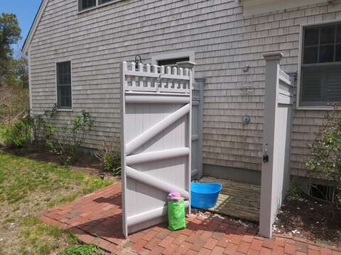 Enclosed outdoor shower - 30 Cockle Cove Road Chatham Cape Cod New England Vacation Rentals