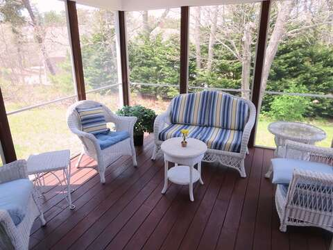 Screened in porch off of the dining area - 30 Cockle Cove Road Chatham Cape Cod New England Vacation Rentals
