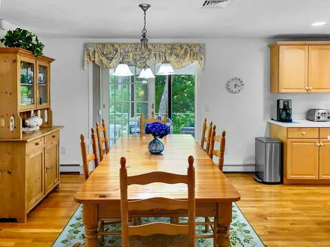 Dining area off of the kitchen offers easy access to screened in porch - 30 Cockle Cove Road Chatham Cape Cod New England Vacation Rentals