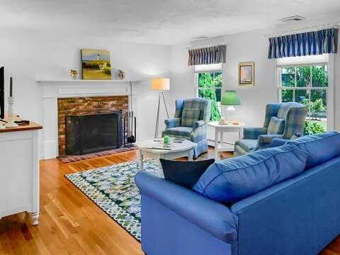 Plenty of seating in the living room at- 30 Cockle Cove Road Chatham Cape Cod New England Vacation Rentals