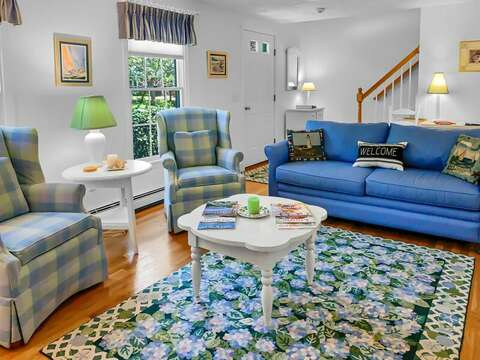 Living room with ample seating at- 30 Cockle Cove Road Chatham Cape Cod New England Vacation Rentals