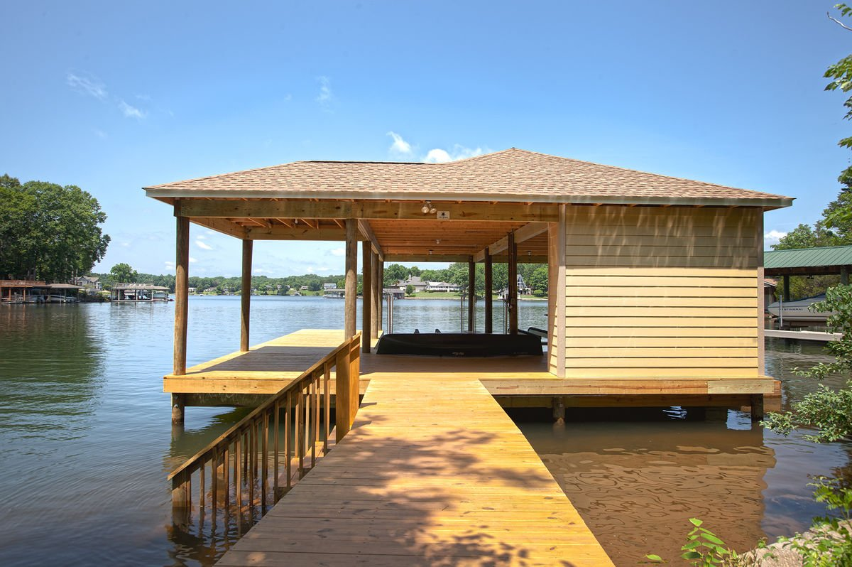 Covered Dock of our Smith Mountain Lake Vacation Home Rental.