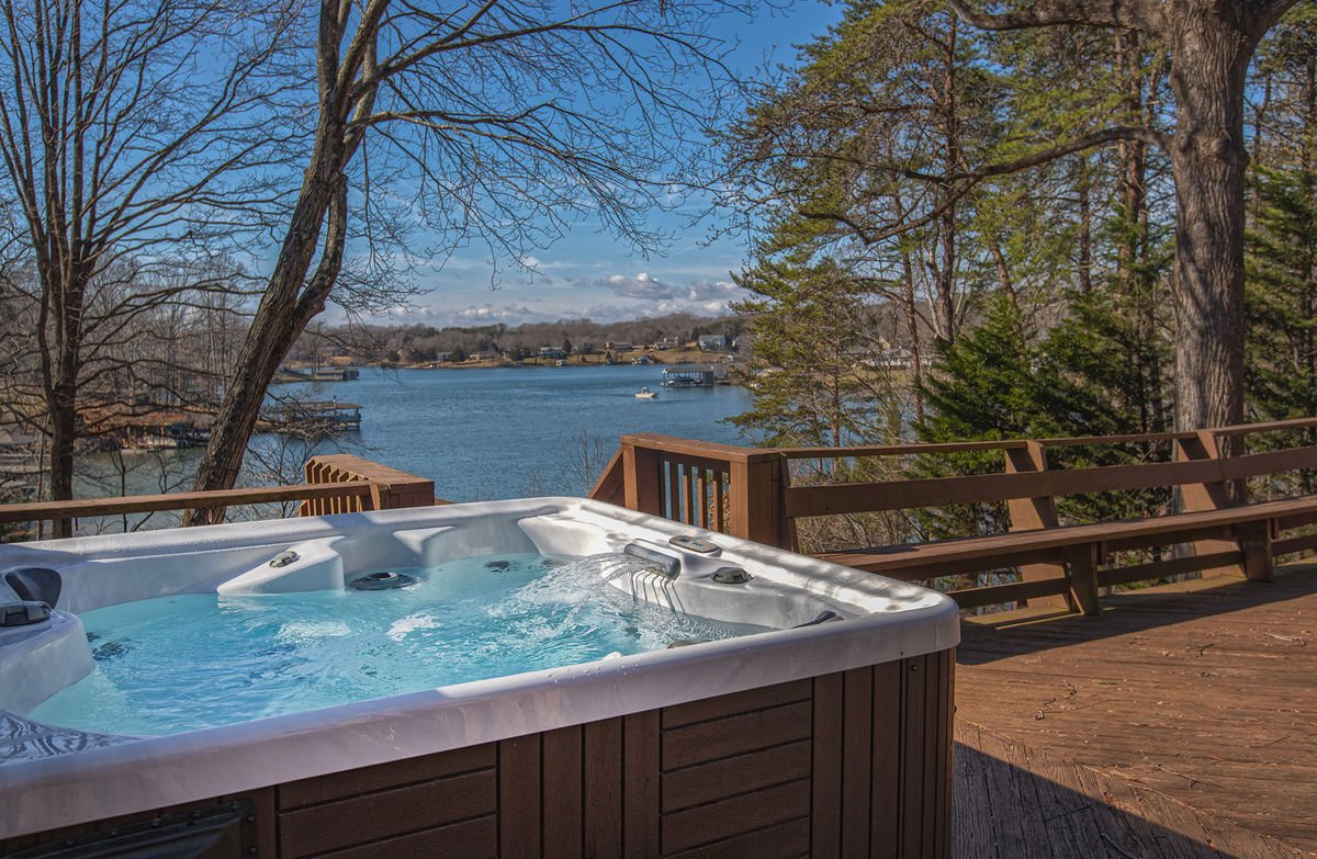 Hot Tub in the Deck with a View of the Lake.