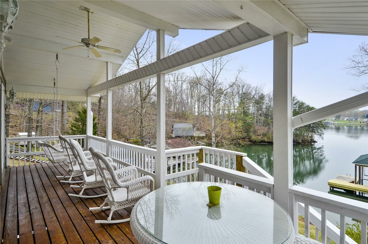 Covered Patio with Rocking Chairs