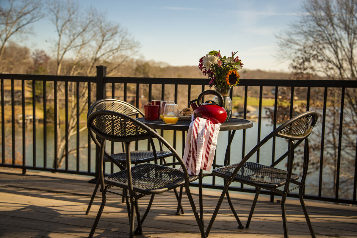 Breakfast on the Deck, Overlooking the Lake