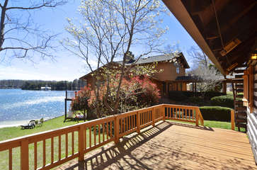 Wooden Deck Overlooks Lake.