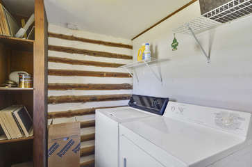 Laundry Room in Log Cabin.