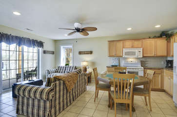 Second Floor Living Area and Kitchen with Card Table