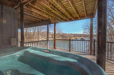Outdoor Hot Tub on Covered Patio