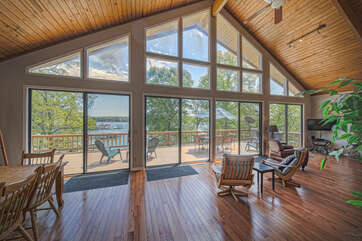 Floor-to-Ceiling Windows with View to Deck and Lake