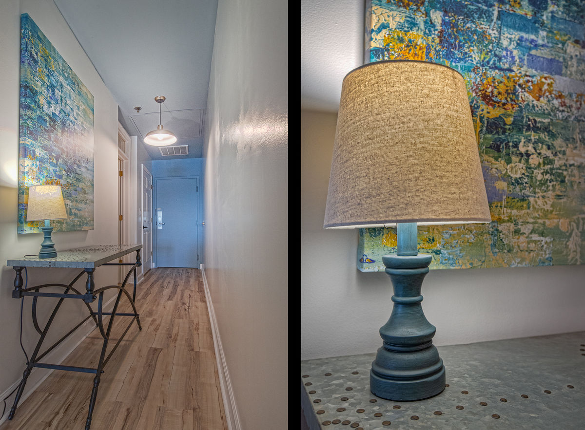 Console Table and Table Lamp in the Hallway.