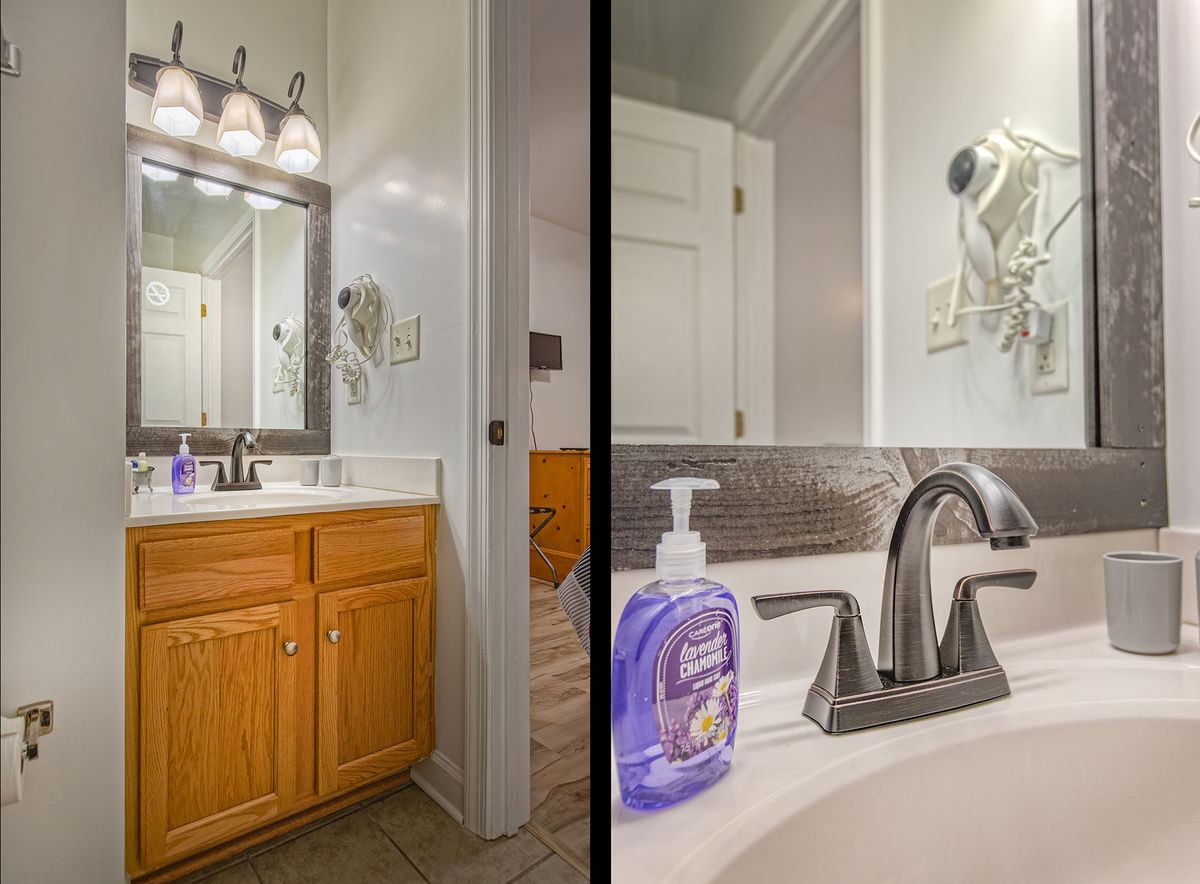 Single Vanity Sink, Mirror, Wall Lamp, and Bathroom Sink Faucet.