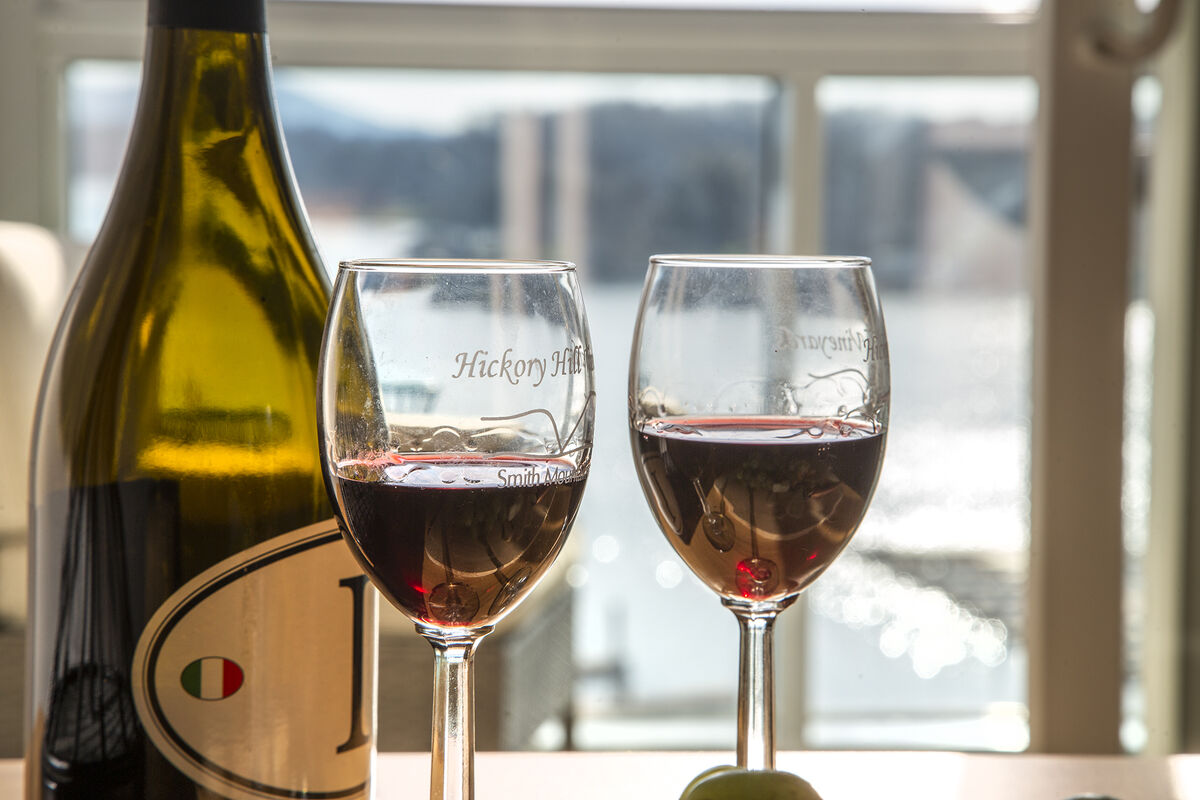 Enjoy the local wine while Overlooking the Lake