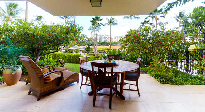 Lanai view with seating and loungers