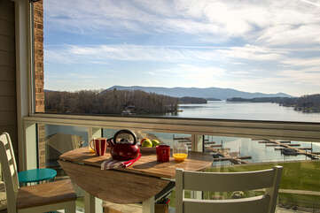 Breakfast Overlooking the Lake and Smith Mountain