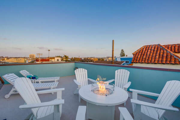 Top Floor Deck with Fire Pit, Lounge Chairs and Ocean Views