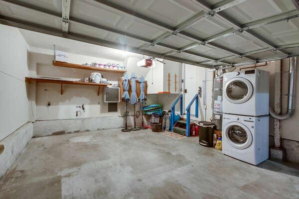 Garage Interior with Washer/Dryer and Beach Gear