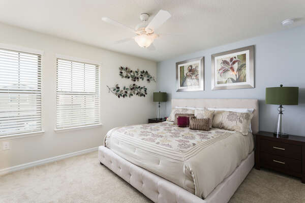 Relax well in this well decorated upstairs king bedroom