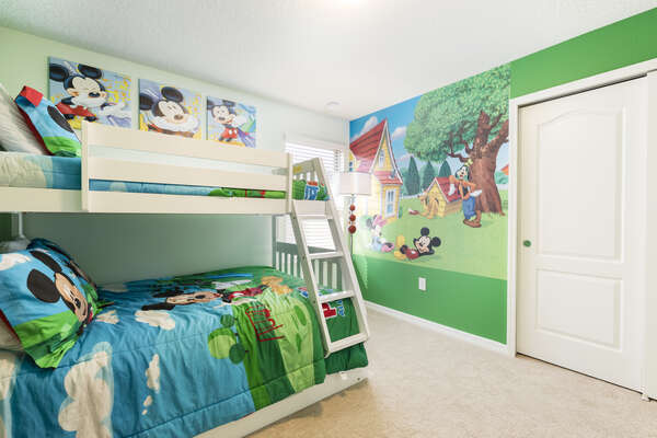 The kids will sleep well in the bunk beds in this themed bedroom