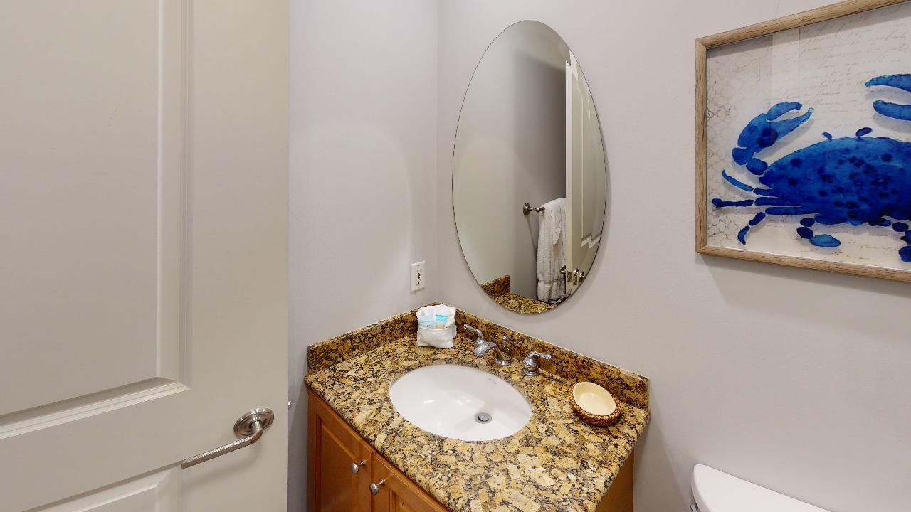 Single Vanity Bathroom Sink, and Mirror.