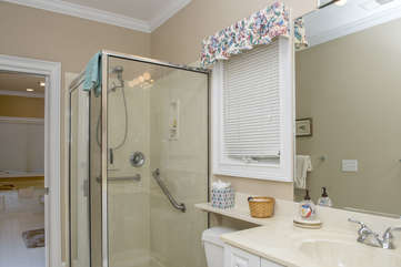 The shower area is separated from the main master bath by a pocket door and contains a second sink and toilet area.