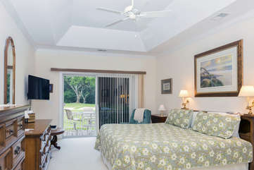 The 1st floor master bedroom has a sleep number king bed & en-suite bath.