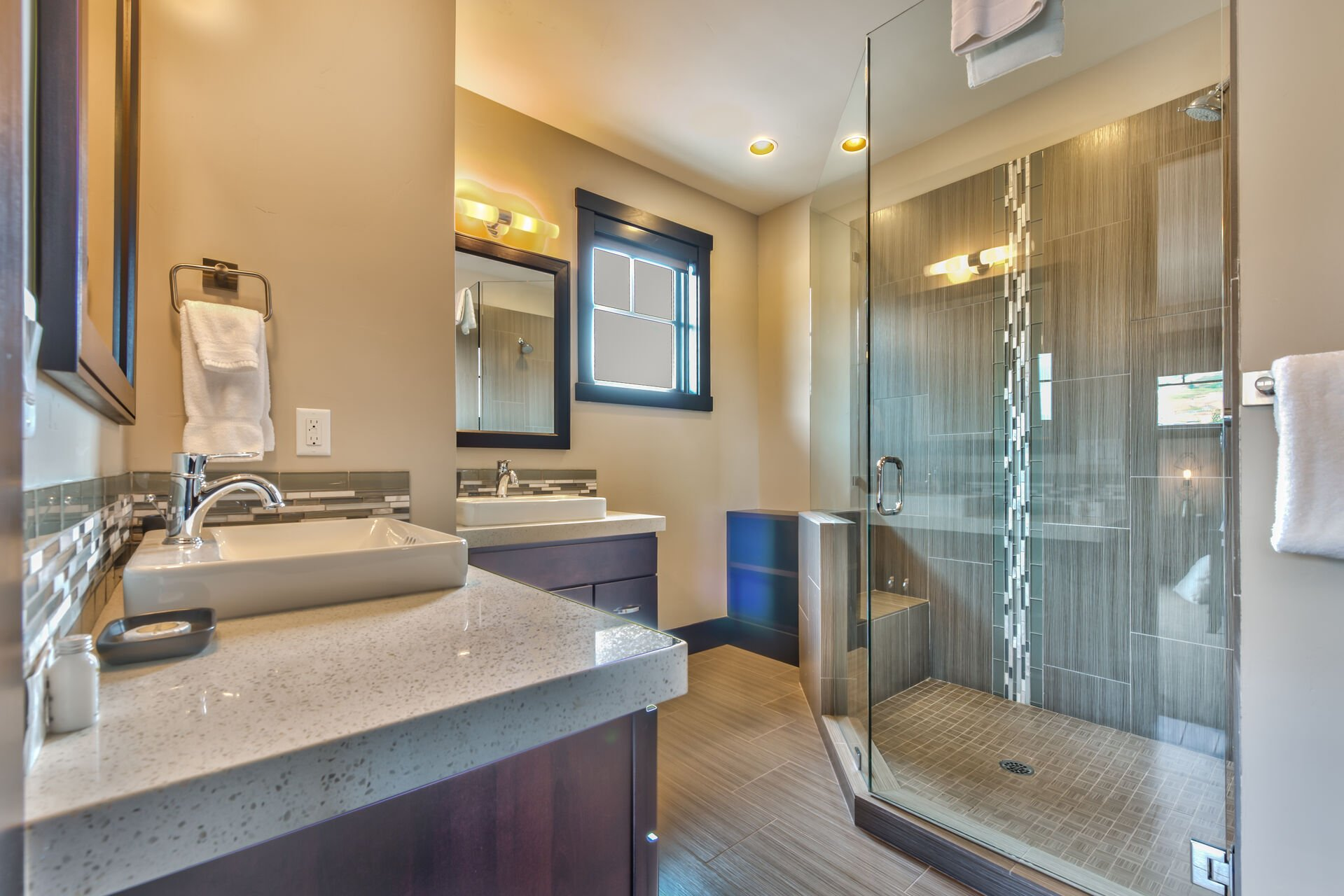 Master Bathroom with Large Shower, Dual Vanities and Heated Floors