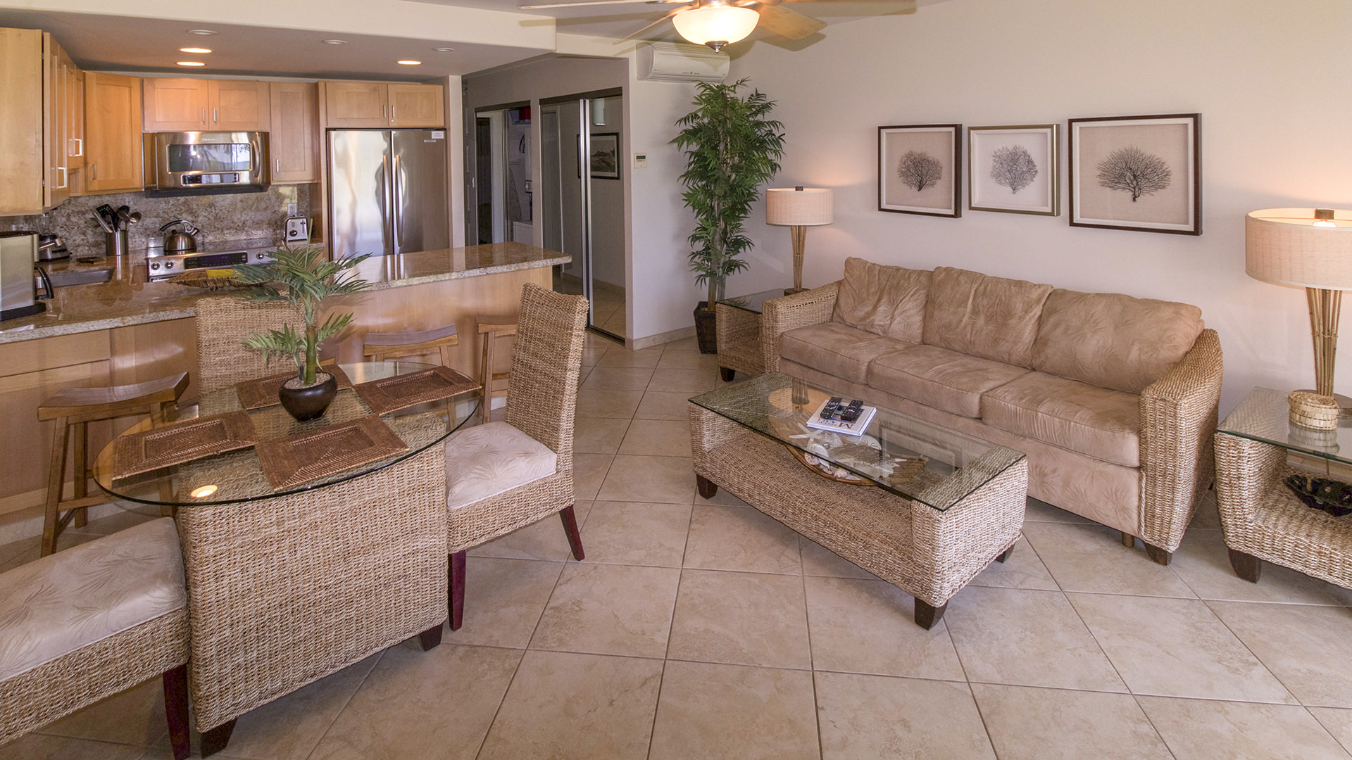 A105 Dining, Kitchen, Couch Setting