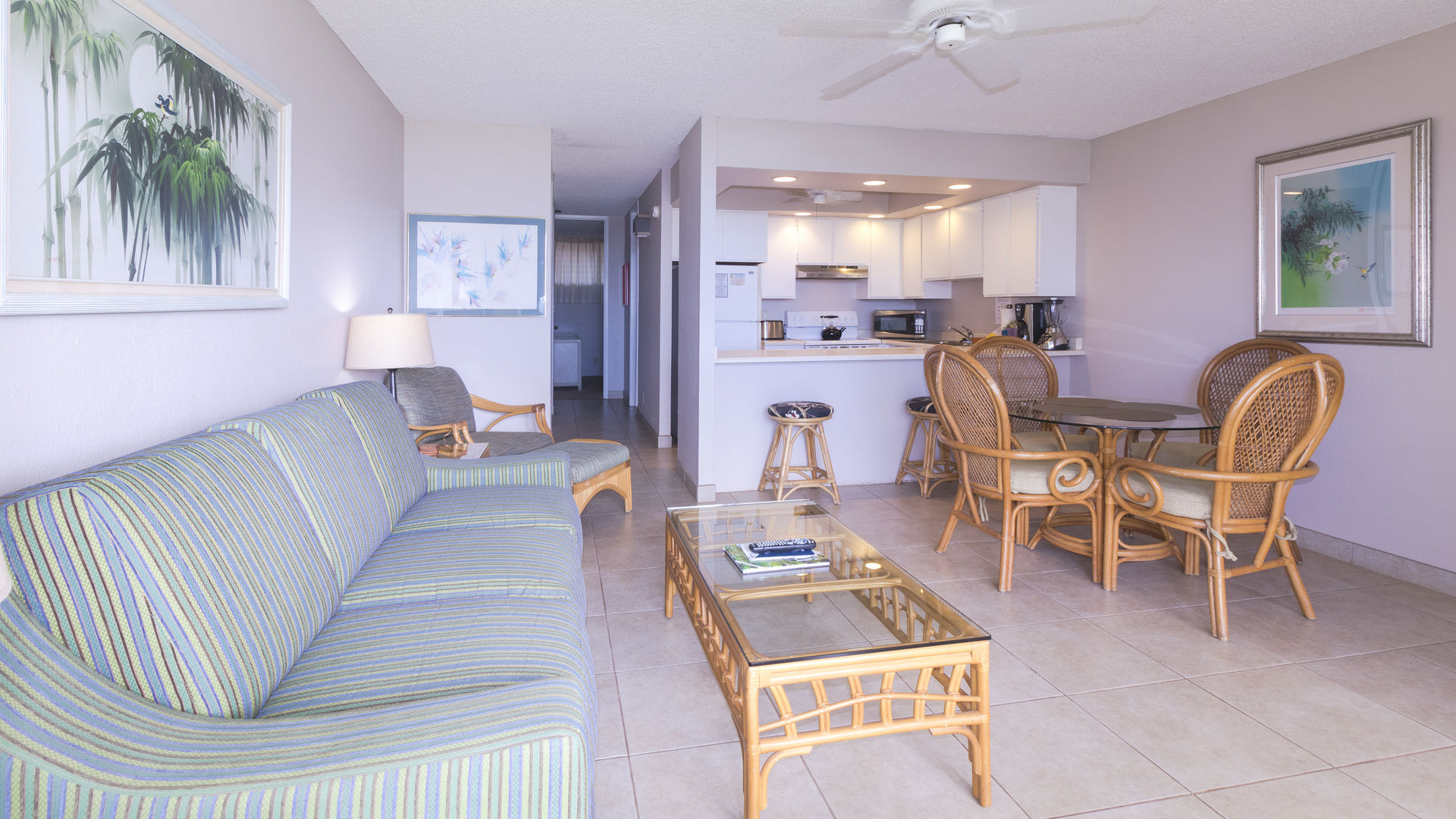 A206 View inward from Lanai, Sofa, Dining and Kitchen