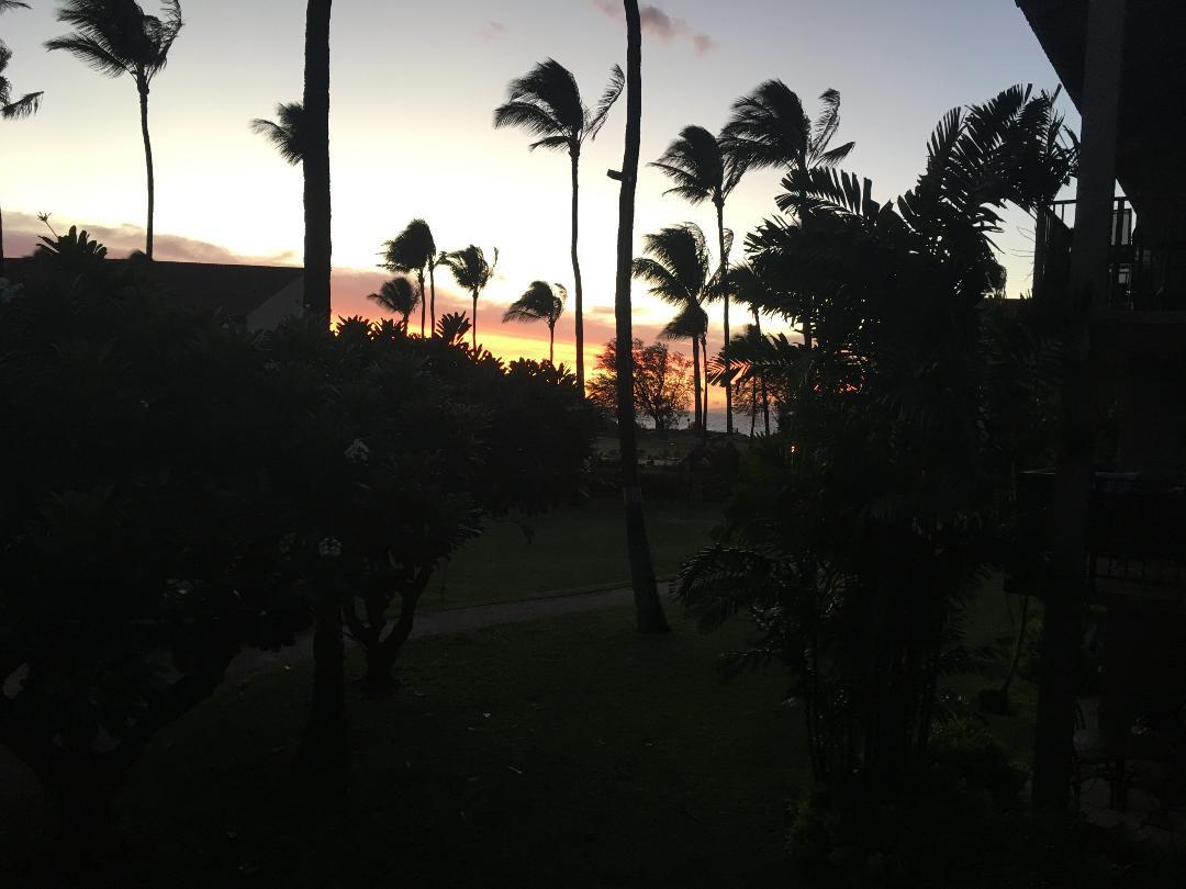 B202 Lanai View of Sunset
