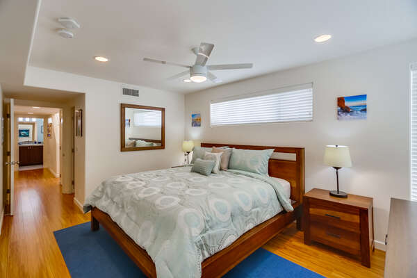 Master Bedroom with King Bed in our San Diego Mission Beach Rental