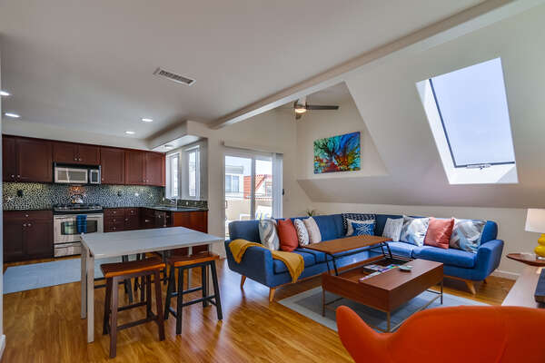 Spacious Living Room & Kitchen in our San Diego Mission Beach Rental