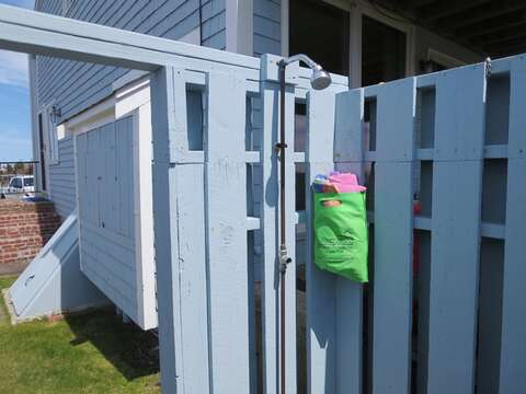 Outdoor shower for your use at the end of the condos - 22 Starfish Lane Chatham Cape Cod - New England Vacation Rentals