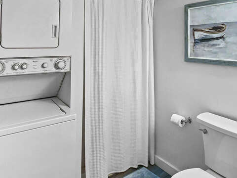 Main Floor Full Bath with Shower and Washer/Dryer-  22 Starfish Lane Chatham Cape Cod - New England Vacation Rentals