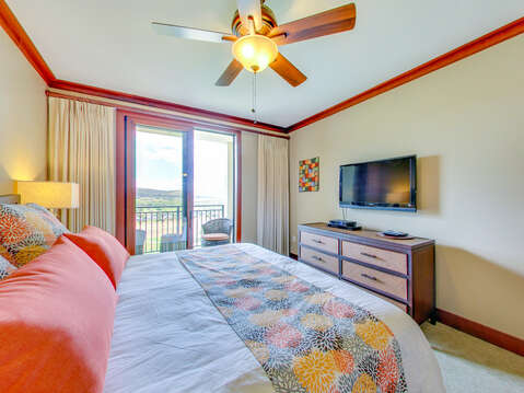 Bright and Cheery Master Bedroom with Custom Bedding in our Ko Olina Villa