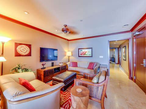 Plenty of Seating in the Living Area with Flat Screen TV in our Ko Olina Villa