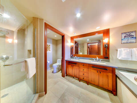 Dual Sinks in Ko Olina Resort Rental OT-1402 Spacious Master Bathroom