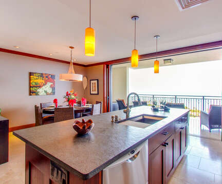 Fully Equipped Kitchen and View of Ocean inside Beach Villas OT-1402