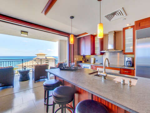 Kitchen and Lanai with Ocean View in our Ko Olina Villa
