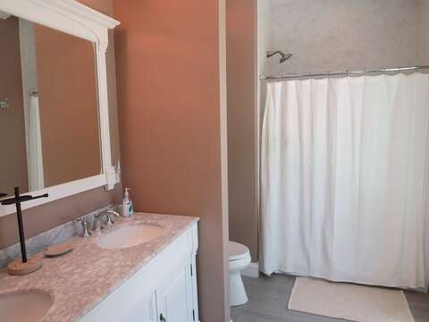 Full Bath with Shower -double vanity- en suite to bedroom 1- 5 White Cedar Lane -Orleans- Cape Cod New England Vacation Rentals