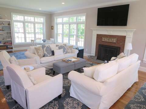 Bright and inviting living area with flat screen TV - 5 White Cedar Lane -Orleans- Cape Cod New England Vacation Rentals