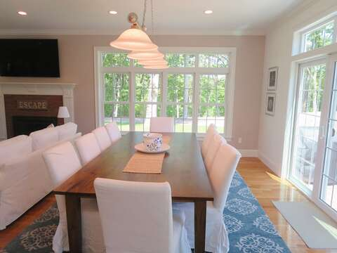 Large dining table - 5 White Cedar Lane -Orleans- Cape Cod New England Vacation Rentals