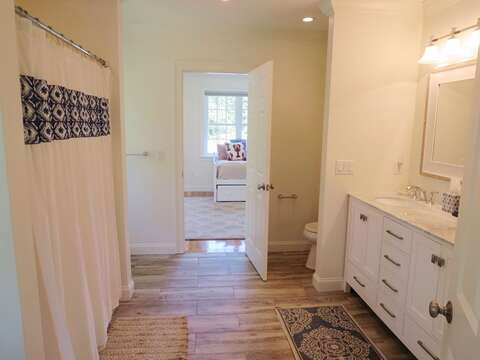 Full Bathroom #2 - Shower & Tub -access from both landing with trundle and bedroom with Queen- 5 White Cedar Lane -Orleans- Cape Cod New England Vacation Rentals