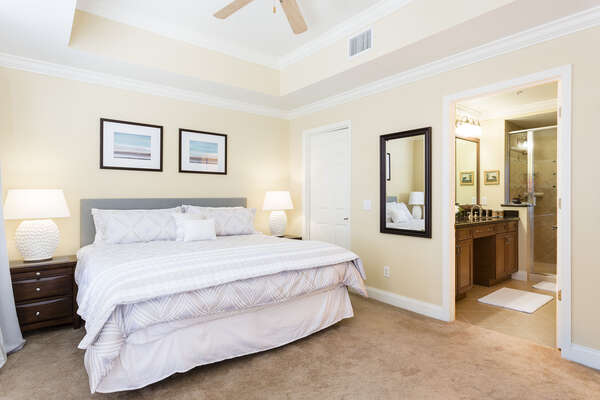 The master bedroom is perfect for any couple