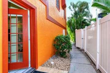 Side entrance to garden apartment