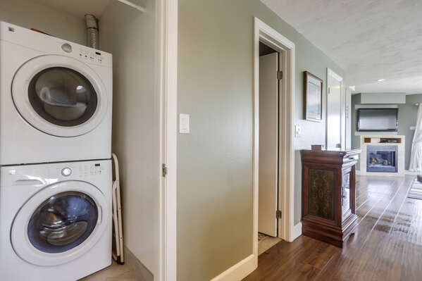 Washer and Dryer Unit, and the Hallway with Buffet Console.