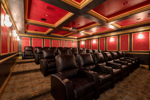 The theater offers luxurious leather seating for 29, a podium with microphone and stage. Making this ideal for meetings during corporate retreats