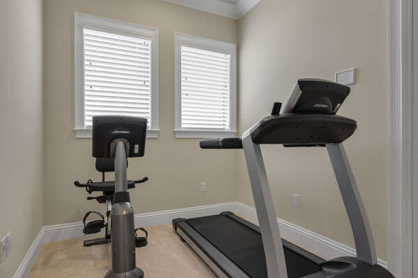 Get your morning workout in on the second floor in your own fitness room with a treadmill and stationary bike
